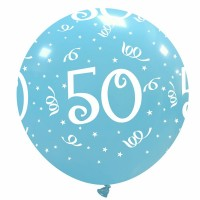 "32"" Sky Blue 50 Latex Balloon 1Ct"