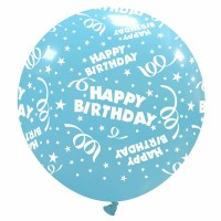 "32"" Sky Blue Happy Birthday Latex Balloon 1Ct"
