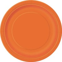 Pumpkin Orange 9'' Round Plates 16 CT.