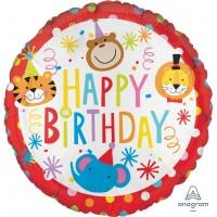 "Happy Birthday Circus Animals 18"" Foil Balloon"