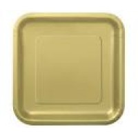 Gold 9'' Square Plates 14 CT.