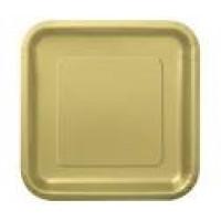 Gold 9'' Square Plates 14 CT.