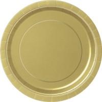 Gold 9'' Round Plates 16 CT.
