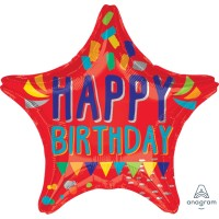 """Happy Birthday Star Shaped - Double Sided 18"""" Foil Balloon"""