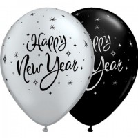 "Happy New Year Sparkle - 11"" Black and Silver 25ct Latex Balloons"