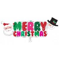 "Santa & Snowman Banner Shape 41"" x 16"""