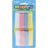 72 Spiral Birthday Candles - Pack of 12