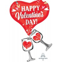 """Heart Shaped Happy Valentines Day 21""""  X 33"""" Supershape Foil Balloon"""