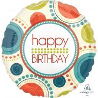 "Happy Birthday Dots And Circles 18"" Foil Balloon"