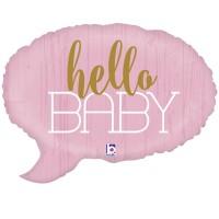 "Pink Hello Baby 24"" Supershape"