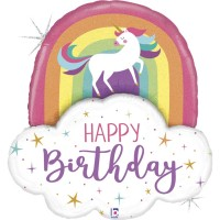 """Unicorn Rainbow Birthday 35"""" Foil Balloon"""