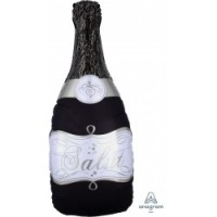 """Black And Silver Champagne Bottle 36"""" Supershape"""