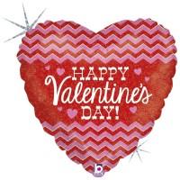 "Chevron Happy Valentine's Day 18"" Foil Balloon"
