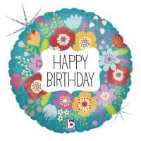 """Wildflower Birthday 18"""" Foil Balloon"""