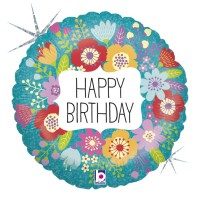 "Wildflower Happy Birthday 18"" Foil Balloon"