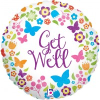 "Flowers & Butterflies Get Well 18"" Foil Balloon"
