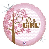 "It's a Girl Owl 18"" Foil Balloon"