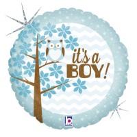 "It's a Boy Owl 18"" Foil Balloon"