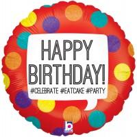 "Happy Birthday Hashtag 18"" Foil Balloon"