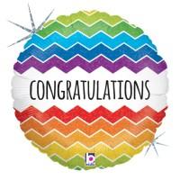 """Chevron Congratulations Holographic 18"""" Foil Balloon GRABO"""