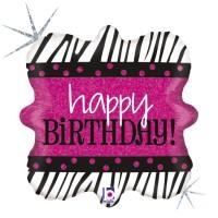 "Zebra Birthday 18"" Foil Balloon"