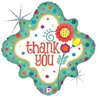 "Thank You Flower And Dots - 18"" Foil Balloon"