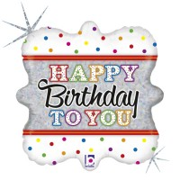 """Happy Birthday To You White With Dots 18"""" Foil Balloon"""
