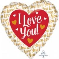 """I Love You Heart Shaped 28"""" Supershape"""