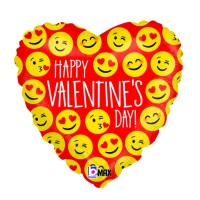 "Happy Valentine's Day Emoji 18"" Foil Balloon"