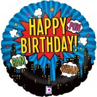 "Happy Birthday Comic Themed 18"" Foil Balloon"