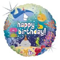 "Happy Birthday Under The Sea Theme 18"" Foil Balloon"