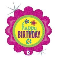 "Birthday Button 18"" Foil Balloon"