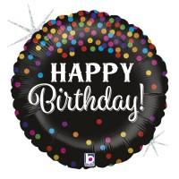 """18"""" Happy Birthday Glittering Confetti Foil Balloon"""
