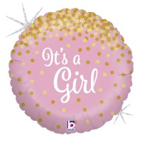 "Pink and Gold It's A Girl 18"" Foil Balloon"