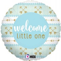 """Blue and Gold Welcome Little One 18"""" Foil Balloon"""