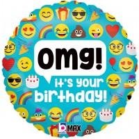 "OMG It's Your Birthday! Emoji 18"" Foil Balloon"