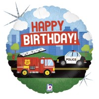 "Happy Birthday Fire Truck and Police Car 18"" Foil Balloon"