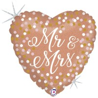 "Mr and Mrs Rose Gold 18"" Foil Balloon GRABO"