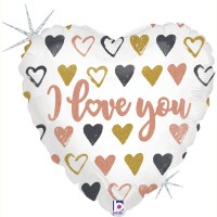"Rose Gold Hearts I Love You 18"" Foil Balloon"