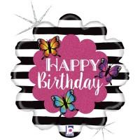 """Flower and Butterflies 18"""" Foil Balloon"""