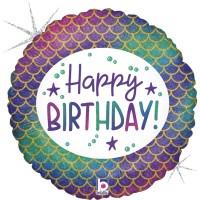 "Happy Birthday Glitter Mermaid 18"" Foil Balloon"