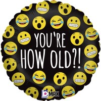 """Emoji How Old Are You? 18"""" Foil Balloon"""