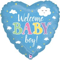 "Welcome Baby Boy Blue Heart 18"" Foil Balloon"