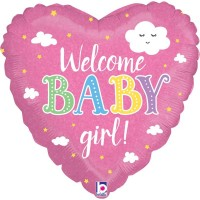 "Welcome Baby Girl Pink Heart 18"" Foil Balloon"