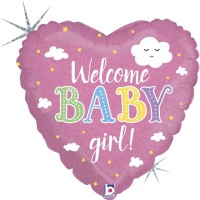 "Welcome Baby Girl 18"" Foil Balloon"