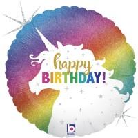 "Colourful Glitter Unicorn Happy Birthday 18"" Foil Balloon"