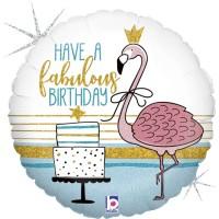 "Glitter Fabulous Flamingo B-Day Holog. 18"" Foil Balloon"