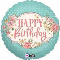 "Happy Birthday Vintage 18"" Foil Balloon"