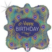 "Peacock Feathers Happy Birthday 18"" Foil Balloon"