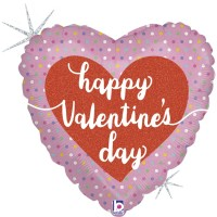 "Happy Valentine's Day Heart Pastel Dots 18"" Foil Balloon"